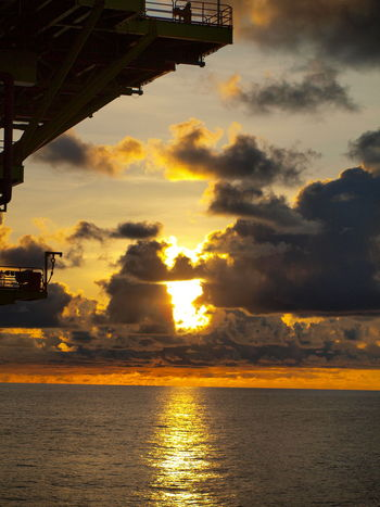 Built Structure Cloud - Sky Nature No People Offshore Platform Oilfield Outdoors Platfrom Silouette & Sky Sky Sunset
