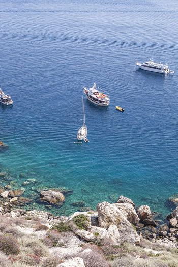 High angle view of sailboat on sea