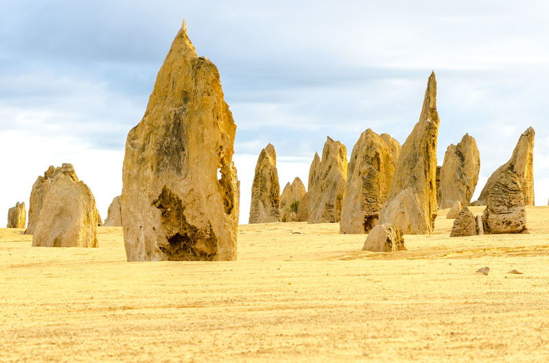 Panoramic View Of Pinnacles National Park Against Cloudy Sky