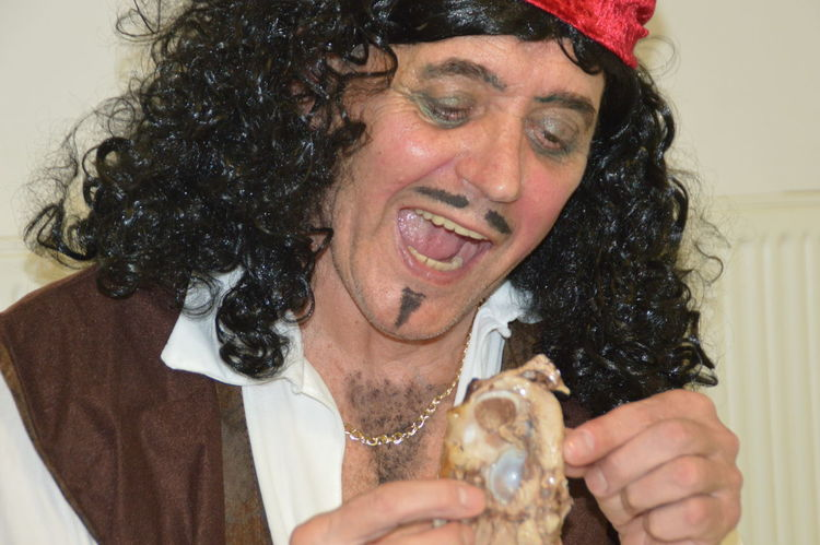 Adult Adults Only Carnival Cheerful Close-up Curly Hair Food Hands Happiness Headshot Indoors  One Man Only One Person People Smiling Unhealthy Eating Costume Pirate Second Acts This Is Aging