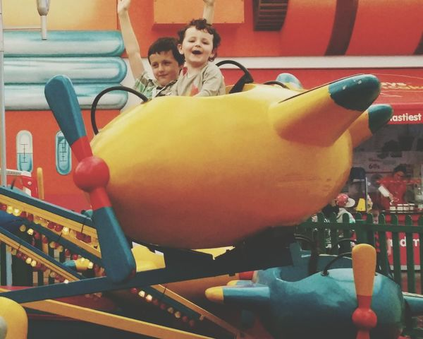 Check This Out My Sons Henry Marmaduke Calum Having Fun Laughing Butlins Airoplane Fairground Fun