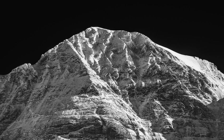 Black And White Blackandwhite Kleine Scheidegg Mountain Mountain Peak Mönch Peak Physical Geography Snowcapped Mountain Swiss Alps