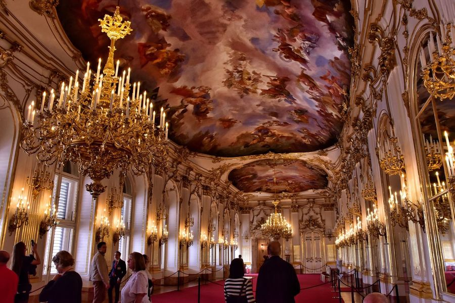 In all it's glory ... the Grand Ballroom at Schoenbrunn  ... Ceiling Indoors  Architecture Illuminated Gold Colored Low Angle View Architectural Column Travel Destinations Vienna No People Day Hapsburg Palace Austria