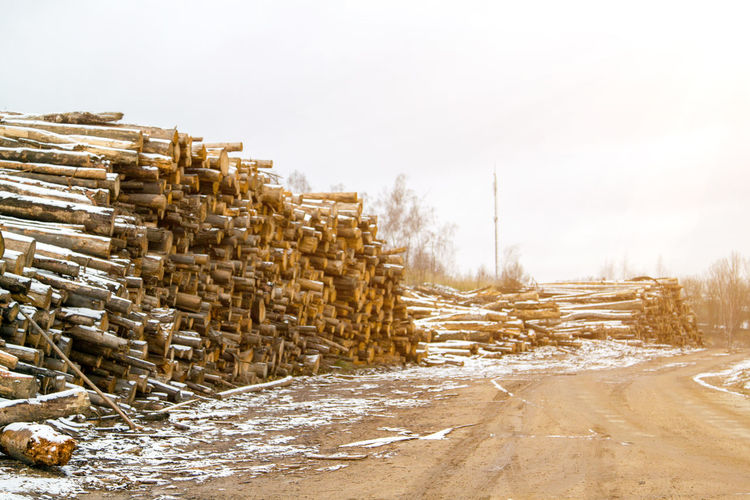 Stack of logs on field against clear sky