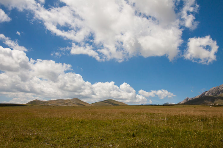 plateau in the mountains of the Abruzzese Apennines (Italy), during the summer, during trekking day Beauty In Nature Cloud - Sky Clouds Clouds & Sky Day Field Grass Idyllic Land Landscape Mountain Nature No People Non-urban Scene Outdoors Plant Plateu Scenics - Nature Sky Tranquil Scene Tranquility TrekkingDay