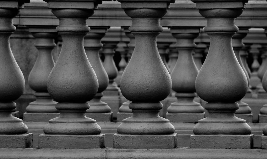 Close-up of baluster in church