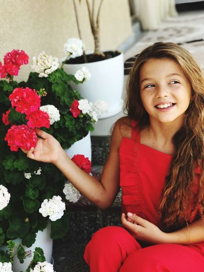 Girls Child Flower Smiling Real People Happiness Two People Cheerful Holding Sitting Bouquet Women Red Looking At Camera Red Girl Plant Lifestyles Freshness Young Women Beautiful Woman Growth Portrait Day Be. Ready. Be. Ready.