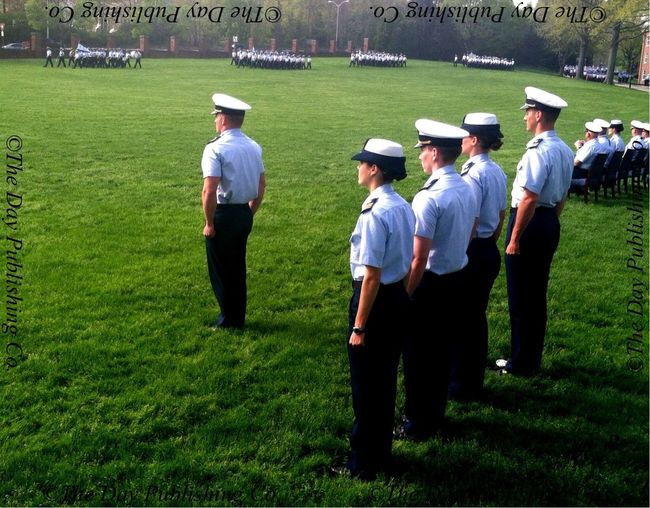 Cadet Regimental Commanders review corps of cadets.