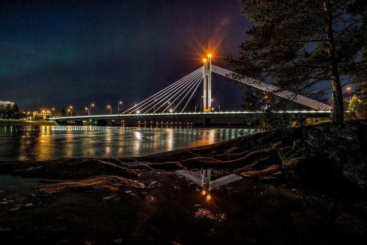 Rovaniemi - Finland Finland Reflection Architecture Bridge Bridge - Man Made Structure Built Structure Cable-stayed Bridge City Engineering Illuminated Night River Rovaniemi Water
