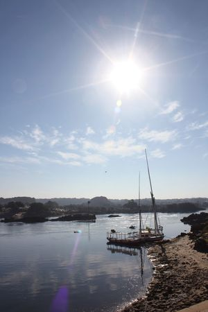 EyeEmNewHere River Nile Reflection Water Aswan Egypt Boat Nature Sailboat Waterfront Sun Beauty In Nature