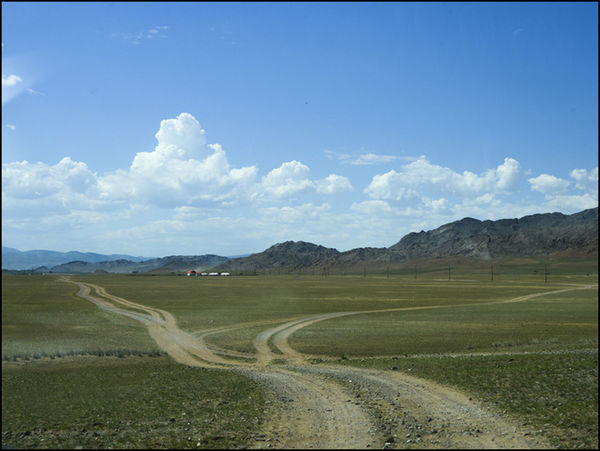 The road, Blue sky, Travelling, Mongolia
