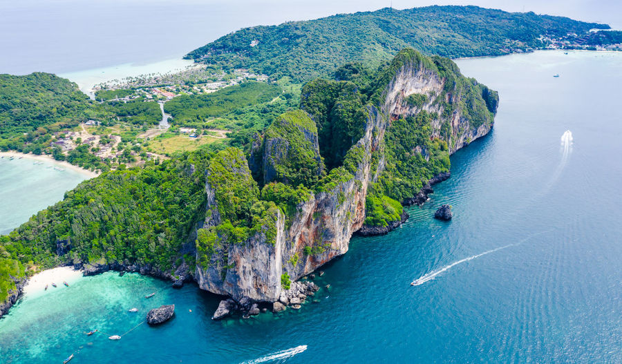Water Sea Scenics - Nature Beauty In Nature Land Tranquil Scene Nature Beach Tranquility No People High Angle View Day Cliff Coastline Island Solid Rock Non-urban Scene Outdoors Turquoise Colored Bay Phi Phi Islands, Thailand High Season Holiday