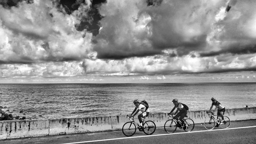 Taiwan Taidong, Taiwan People Of The Oceans Sea And Sky Sky And Clouds Black & White Black And White Blackandwhite Photography Bike Sports Coastline Coastal Highway Travel Photography EyeEm Best Shots EyeEmBestPics Eyeemphotography
