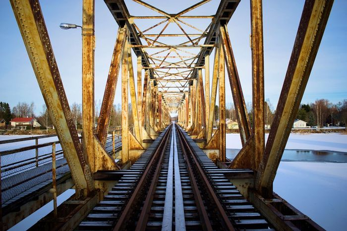 Bridge - Man Made Structure Railroad Bridge Sky Connection Metal Built Structure Outdoors The Way Forward Railing Day Architecture No People Railway Bridge