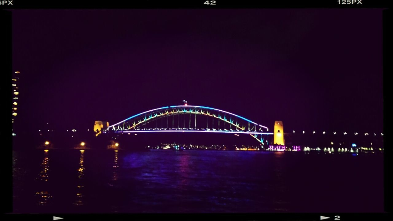 night, illuminated, architecture, connection, bridge - man made structure, built structure, sea, no people, outdoors, water, travel destinations, panoramic, clear sky, sky, nature