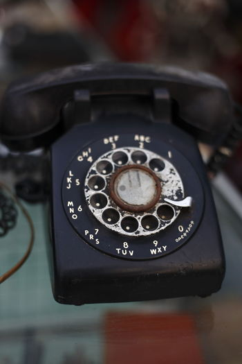 Old retro analog telephone Communication Close-up Old-fashioned Technology No People Telephone Phone Call Old Retro Vintage Memories Collection Collector Communicate Connected Outdated Outdated Tech Flea Market Object Obsolete Round Shape