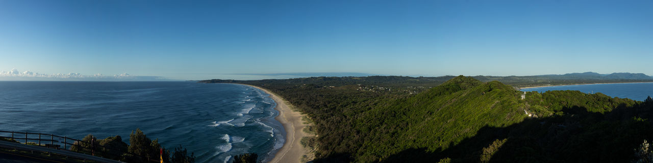 First light of the day illuminates this small mountain range, which is rising up to the Cape Byron Lighthouse (where I was standing). Aerial View Beach Blue Clear Sky Horizon Over Water Landscape Mountain Range Nature Outdoors Sea Water Water's Edge Wave
