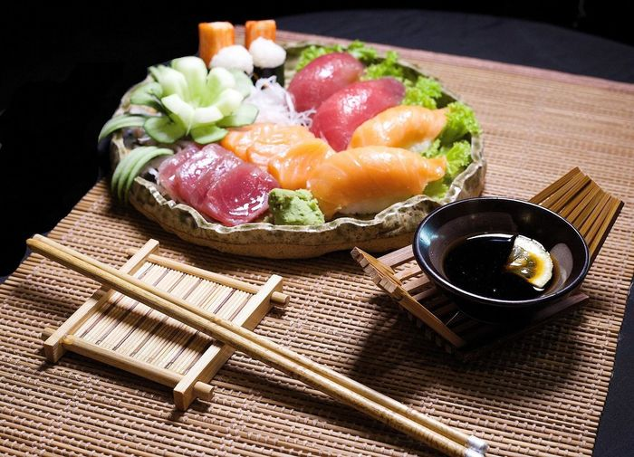 High angle view of sashimi on plate