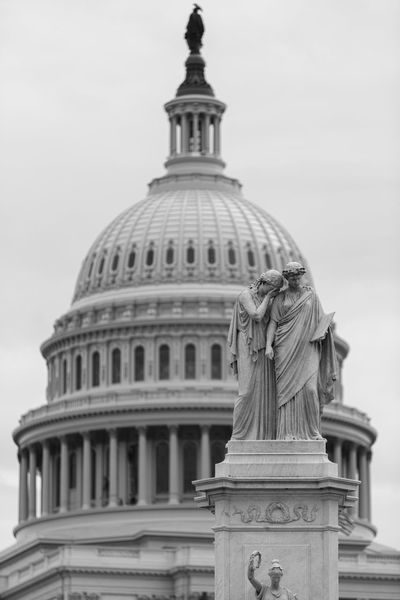 Classical Figures Standing in Disappointment in front of the US Capitol Black And White Capital Capital Cities  Capitol Disappointed Disappointment Face Palm Monochrome No People Sad Statue Washington, DC
