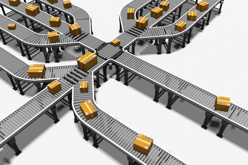 3D 3D Art 3D Illustration 3d Rendering CGI Conveyor Belt Industrial Industry Logistics Conveyor  Factory Freight Transportation Illustration Manufacturing Manufacturing Equipment Package Packaging Parcel Render