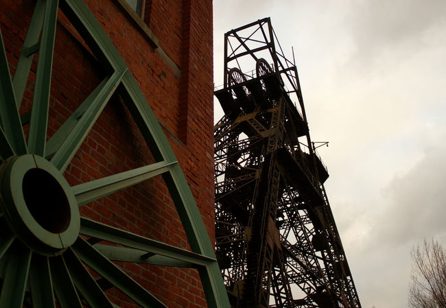 Low Angle View No People Outdoors Built Structure Architecture Industry Sky Day Mining Equipment History Through The Lens  History Mining Heritage Lancashire Coalfield Mining Coal Mine Mine Headframe Mine Headgear