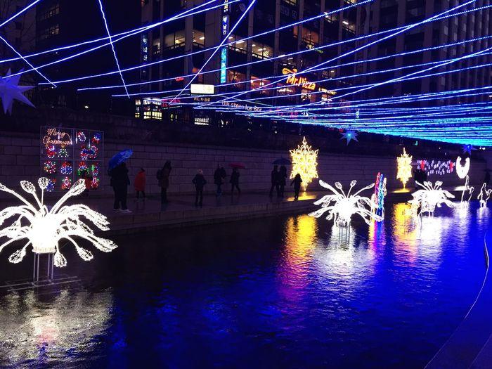 View of illuminated fountain at night