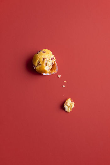 Close-up of cookies against red background
