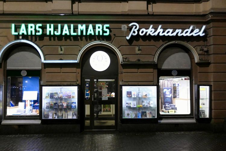 Old Book Store in Karlstad Neon Sign Night Shot Night Scene Bokhandel Books Bookstore Bookstores