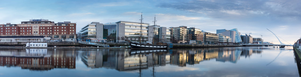 The river Liffey in Dublin, Ireland. Architecture Building Exterior Built Structure City Dublin, Ireland Flowing Flowing Water Liffey Liffeybridge Liffeyriver Panorama Panoramic Photography Panoramic View Reflections Reflections In The Water River Sky Water Waterfront Wide Wide Shot