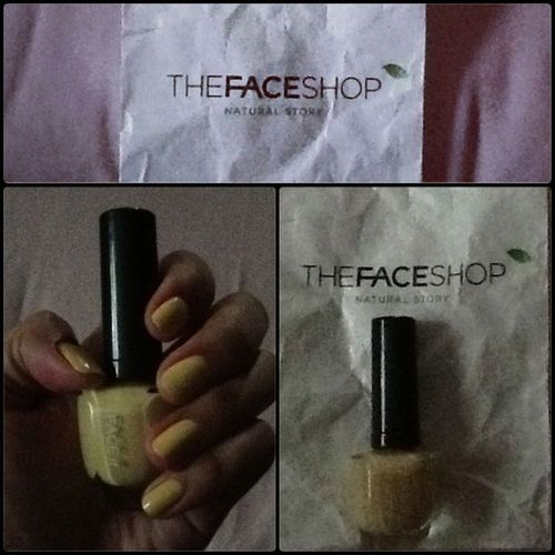 Instacollage Polish TheFaceShop Nails yellow naturalstory