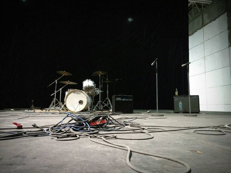 No People Hall Music Hall Music Stage Stage Live Performance  Instruments Concert Hall  Sound Recording Equipment Arts Culture And Entertainment Stage - Performance Space Music Focus On Foreground Drums Amplifiers Amplification Wires Instrument Wire Music Gear