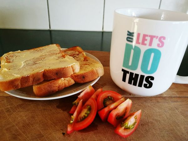 Food Healthy Eating Breakfast Toast Tomatoes Baby Tomatoes Hot Tea My Favourite Mug Kitchen Cuttingboard Good Mourning ! EncouragementToYou Good Words Hello World ✌ No People Hot Toast Hot Beverage Encouragement Fresh Produce Healthy Breakfast Good Mourning! Ready To Eat Fresh Tomatoes Healthychoices Inspirational