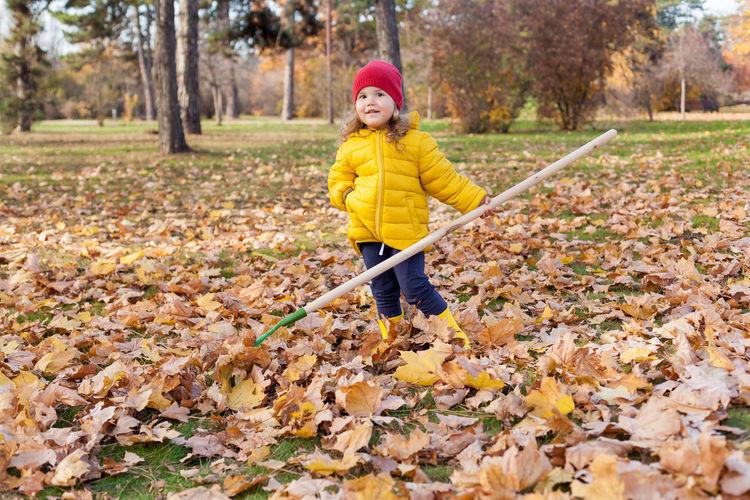 Portrait girl raking leaves during autumn