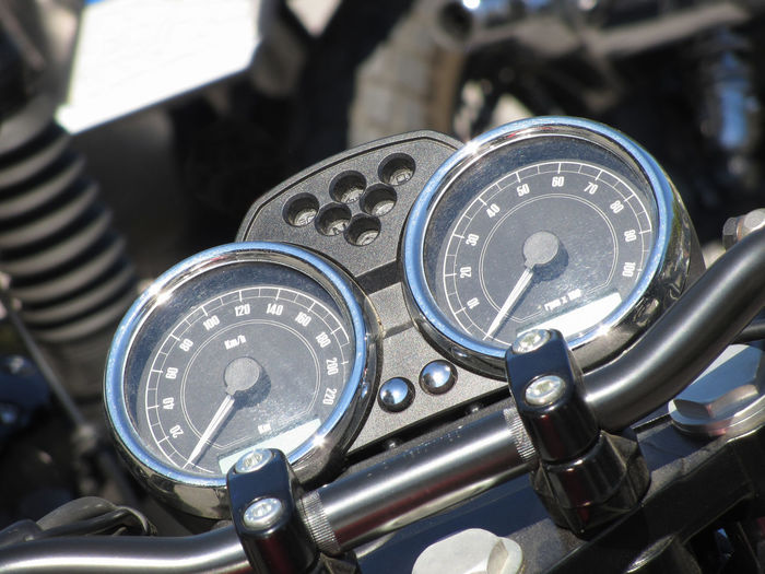 Close-up of motorcycle dashboard