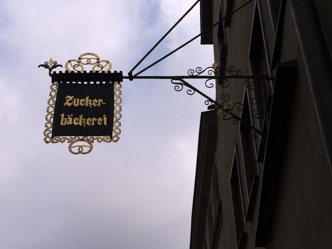 Antique Bavaria Bow Dinkelsbuhl Pictoresque Sign Travel Architecture Building Exterior Built Structure Communication Confectionery Decoration Germany Historic Low Angle View Old Outdoors Shield Signboard Sky Tavern  Town