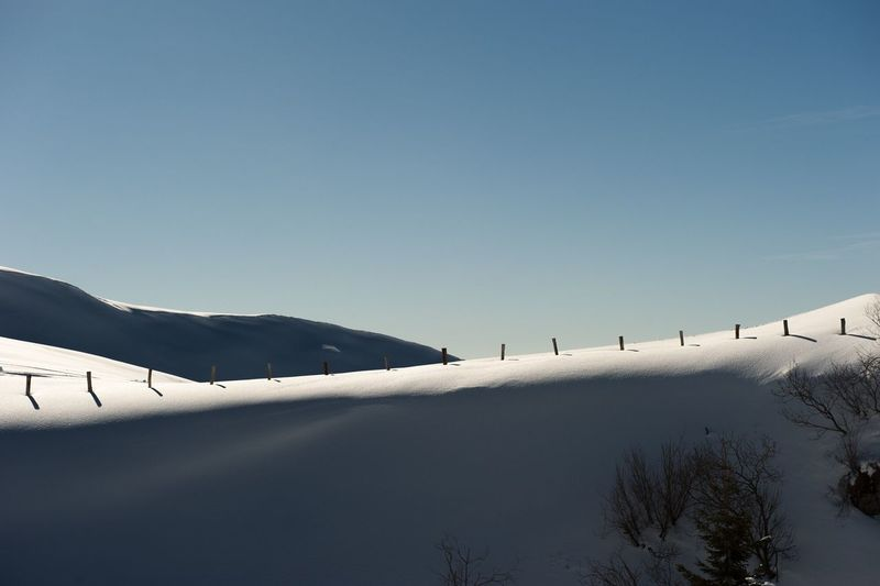 Scenic view of snowy landscape against clear sky