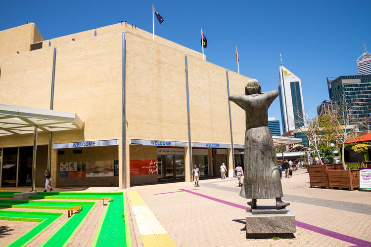Art Gallery WA building entrance in Perth City centre, Western Australia Australia Center City Downtown Entrance Modern Perth South32 Square Statue View Architecture Building Exterior City Creativity Culture Flag Gallery Modern Art Paving Pedestrian Sculpture Sky Skyscraper Western