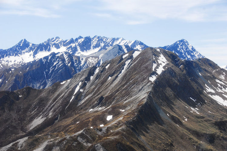 Scenic view of snowcapped mountains against sky, queenstown, new zelande
