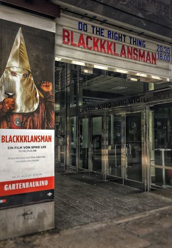 blackkklansman Movıe Text Communication Western Script Architecture Built Structure Sign Script No People Building Information Sign EyeEmNewHere