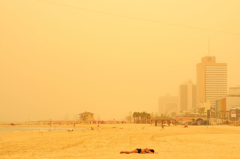 Alone Badweather Beach Beachphotography Clear Sky Dust Dusty Fog Israel Sea Summer Tan Tanning Tanning ☀ Telaviv Travel Trip Vacation Vacations Weather Woman Yellow