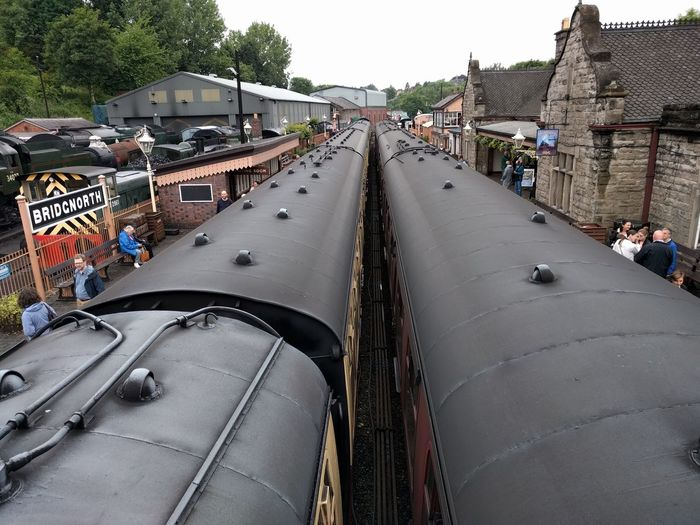 High angle view of train at severn valley railway