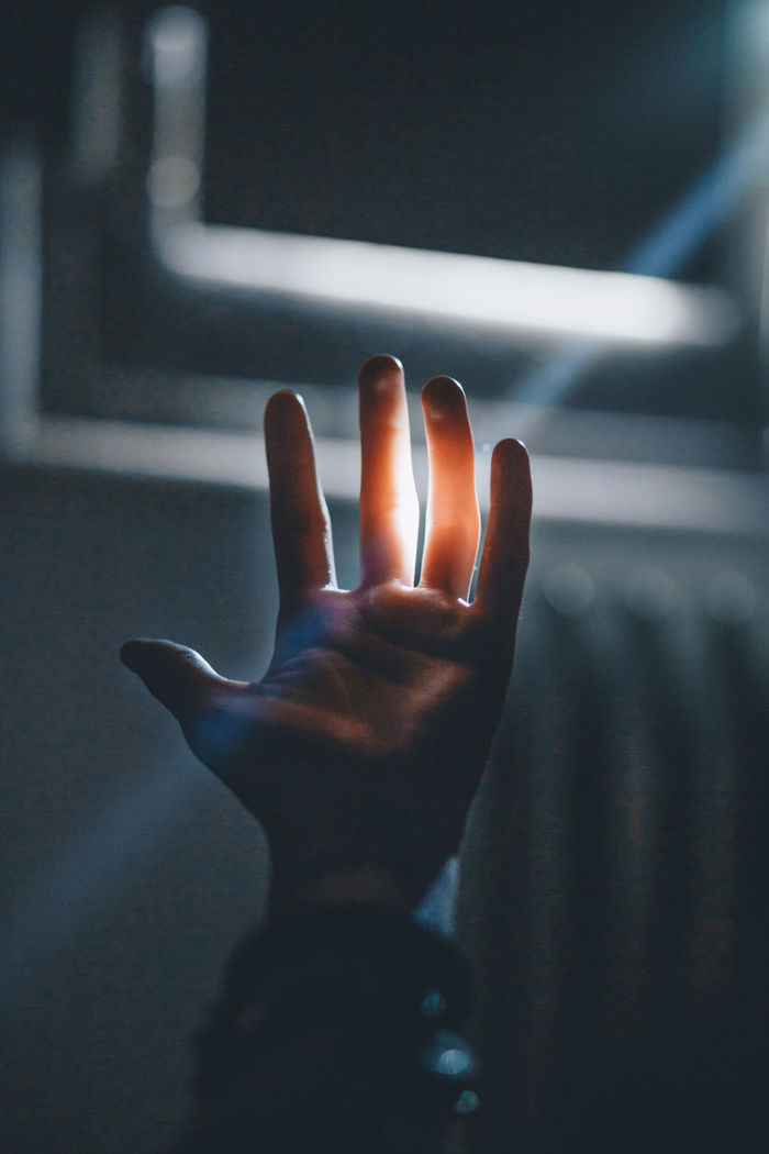 Sunlight streaming on hand of person