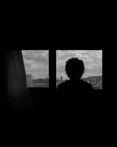 Silhouette Black And White Sky Person Silhouette Window Silhouette Black Ad White