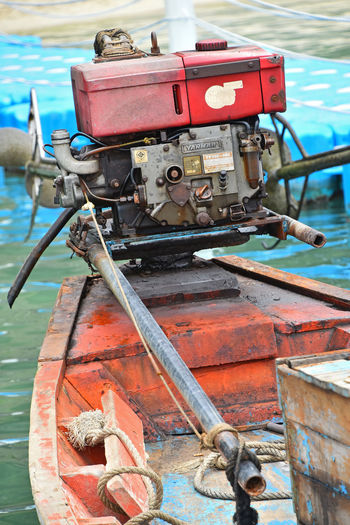 Old engine of traditional Thai longtail boat Ang Thong National Marine Park Angthong Boat Boats Engine Ethnic Fisherman Boat Fishermanvillage Fishermen Boat Fishermenvillage Local Longtailboat Motor Old Simple Spotted In Thailand Thai Traditional Village