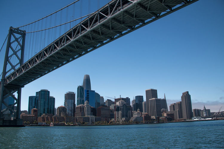 San francisco-oakland bay bridge over bay with buildings in background