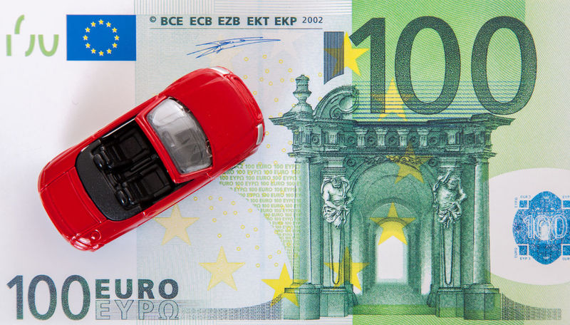 Toy car on euro note Budget Cabrio Car Insurance Convertible Convertible Car Costs Euro Notes Expenses Metaphor Purchase Sale Stock Photo Symbolic