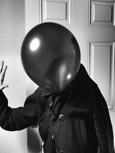 Rethink Things Monochromatic One Person Conceptual Portrait Indoors  Costume Wearing Disguise Human Hand Baloon Scene Performance