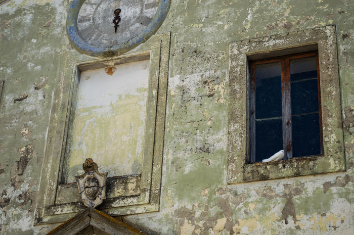Church Architecture Building Exterior Calcata Clock Close-up Day Dove Italy No People Old Church Outdoors Town Village Window