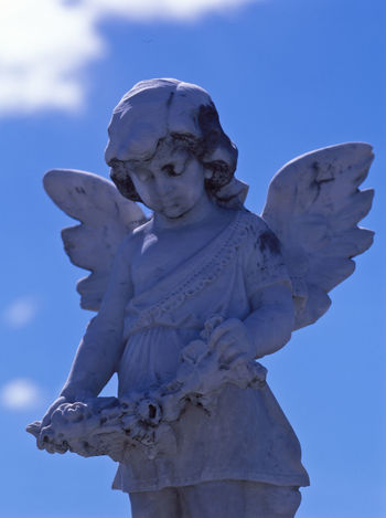 little Angel in the blue sky Aged Stone Angel Art And Craft Blue Sky Cemetery Child Clouds Day Human Representation Looking Down From Above Low Angle View Marbledstone Nature No People Outdoors Religion Sculpture Sky Spirituality Statue Stone Material Waiting ... White Color Wings Woman