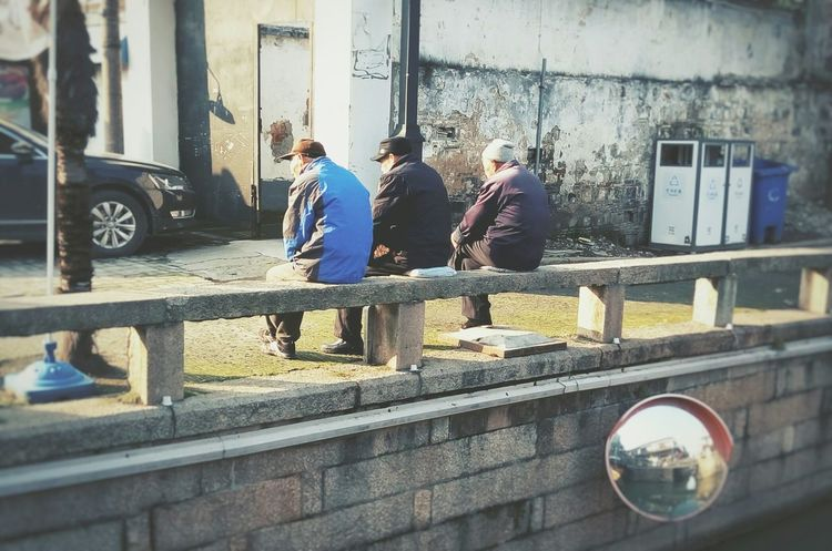 Streetphotography Chinese Culture Traveling Enjoying Life Old Street Riverside Communicate Thinking Enjoying The Sun Old Friends Old Town